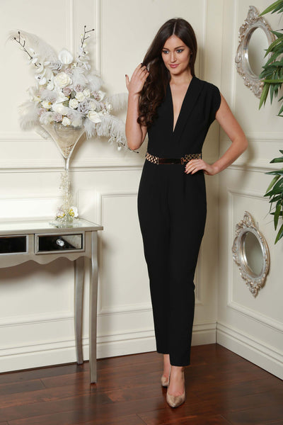 Black Gold Trim Double Breast Jumpsuit - LadyVB   s.r.o - 1