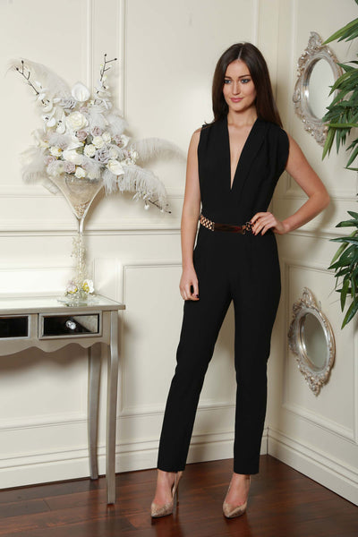 Black Gold Trim Double Breast Jumpsuit - LadyVB   s.r.o - 2