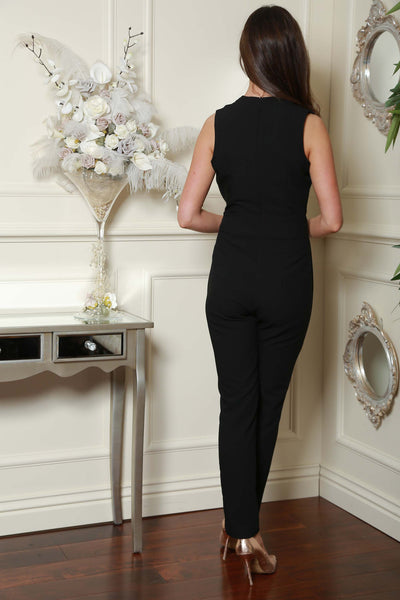 Black Gold Trim Double Breast Jumpsuit - LadyVB   s.r.o - 3