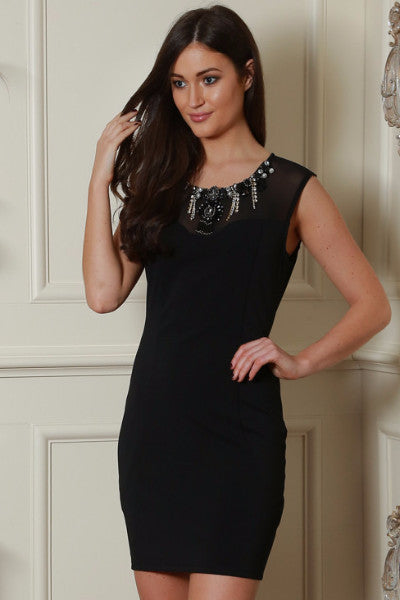 Black Embellished Neckline Dress - LadyVB   s.r.o - 1