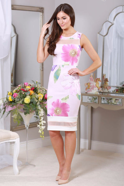 Pale pink stretch floral dress - LadyVB   s.r.o - 1