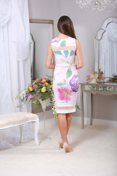Pale pink stretch floral dress - LadyVB   s.r.o - 2