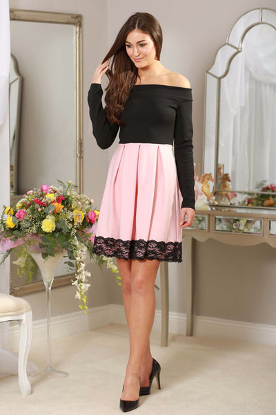 Baby Pink and black off the shoulder Dress - LadyVB   s.r.o - 1