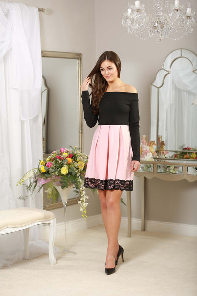 Baby Pink and black off the shoulder Dress - LadyVB   s.r.o - 2