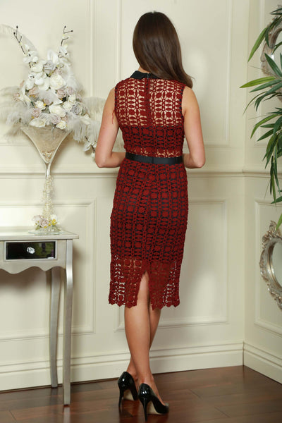 Wine and Black Band Dress - LadyVB   s.r.o - 2
