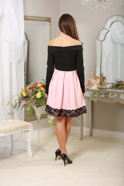 Baby Pink and black off the shoulder Dress - LadyVB   s.r.o - 3