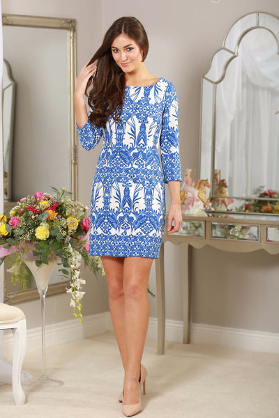 Blue and White Shift Dress 3/4 sleeves - LadyVB   s.r.o - 1