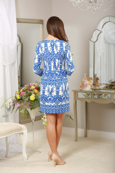Blue and White Shift Dress 3/4 sleeves - LadyVB   s.r.o - 2