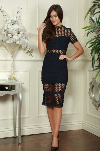 Netted Lace Navy Dress - LadyVB   s.r.o - 1
