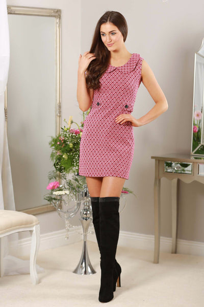 Pink Button Detail Retro Dress - LadyVB   s.r.o - 1