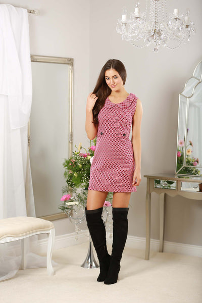 Pink Button Detail Retro Dress - LadyVB   s.r.o - 2