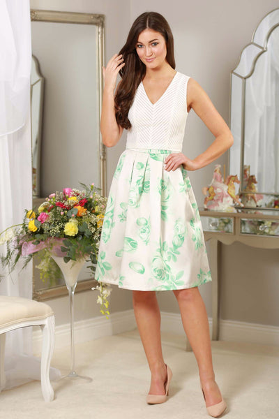 Mint Green Floral Skirt - LadyVB   s.r.o - 1