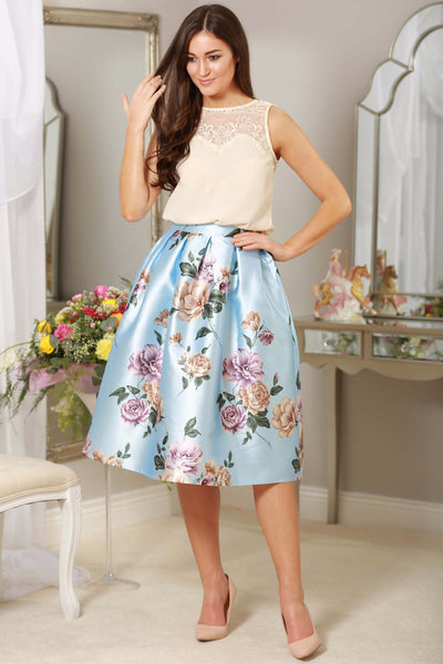 Blue Flower Skirt - LadyVB   s.r.o - 1