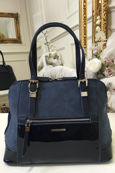 Tina Navy Zip Front Suedette and Patent Handbag - LadyVB   s.r.o - 1