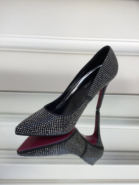 Black and Silver Bling Heels Shoes - LadyVB   s.r.o - 2