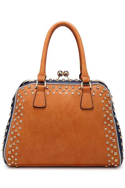 Brown Stud Handbag - LadyVB   s.r.o