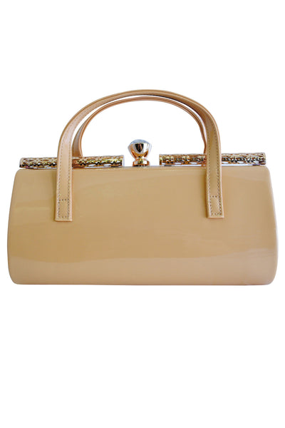 Apricot Patent Large Clutch Bag with Handles and Diamante Latch - LadyVB   s.r.o