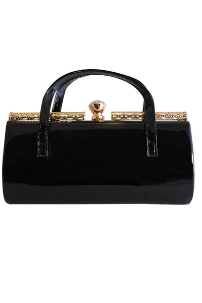 Black Patent Large Clutch Bag with Handles and Diamante Latch - LadyVB   s.r.o