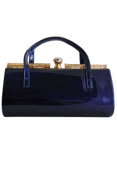 Navy Blue Patent Large Clutch Bag with Handles and Diamante Latch - LadyVB   s.r.o