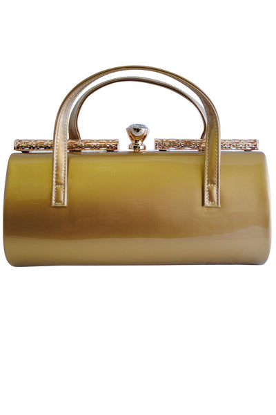 Gold Patent Large Clutch Bag with Handles and Diamante Latch - LadyVB   s.r.o