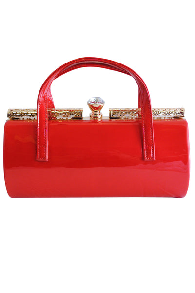 Red Patent Large Clutch Bag with Handles and Diamante Latch - LadyVB   s.r.o - 1