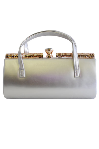 Silver Patent Large Clutch Bag with Handles and Diamante Latch - LadyVB   s.r.o