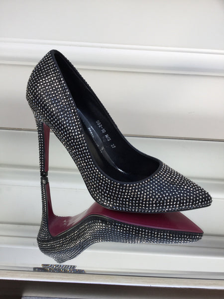 Black and Silver Bling Heels Shoes - LadyVB   s.r.o - 1