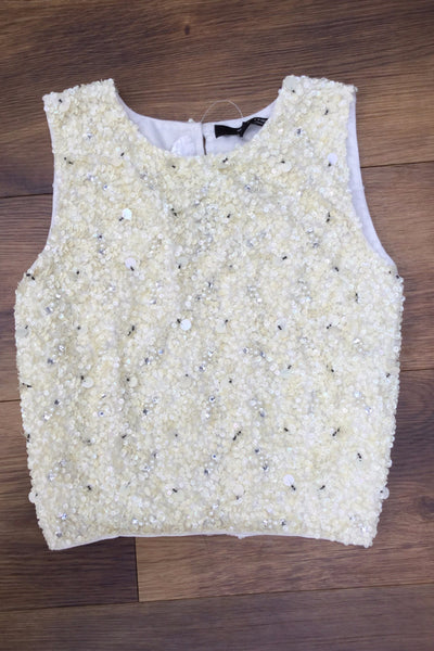 Cream Sequin and Beaded Emilia Crop Top - LadyVB   s.r.o