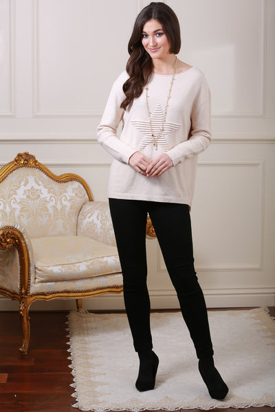 Cream Star Knit Jumper - LadyVB   s.r.o - 1
