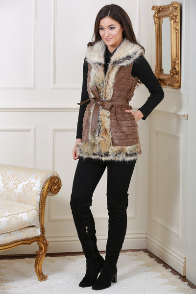 Jackie Faux Fur Trim Brown Giletjacket - LadyVB   s.r.o - 2
