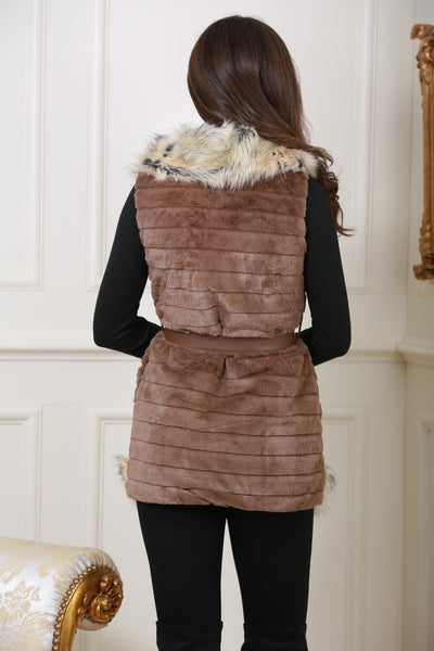 Jackie Faux Fur Trim Brown Giletjacket - LadyVB   s.r.o - 4