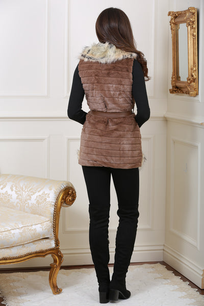 Jackie Faux Fur Trim Brown Giletjacket - LadyVB   s.r.o - 3