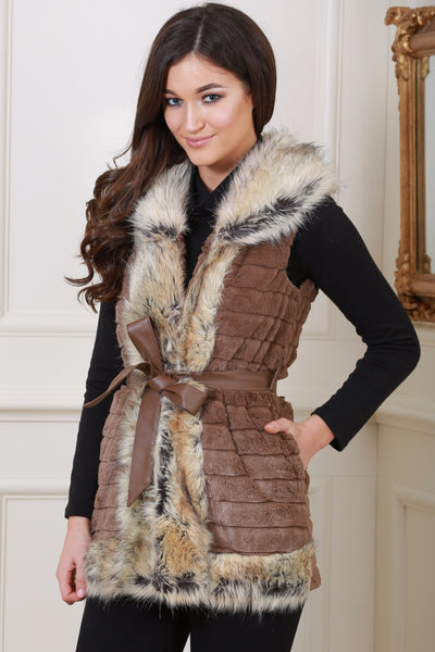 Jackie Faux Fur Trim Brown Giletjacket - LadyVB   s.r.o - 1
