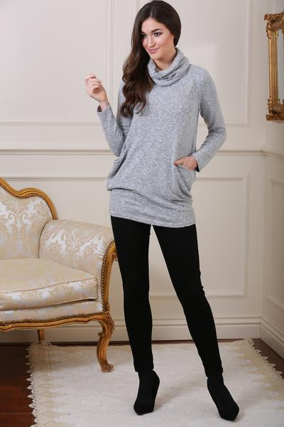 Mandy Light Grey Soft Knit Jumper with Matching Snood - LadyVB   s.r.o - 1