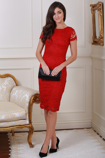 Steph Red Crochet Lace Midi Dress - LadyVB   s.r.o - 1