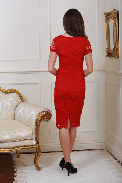 Steph Red Crochet Lace Midi Dress - LadyVB   s.r.o - 2