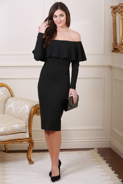 Gemma Off The Shoulder Frill Trim Black Midi Dress - LadyVB   s.r.o - 1