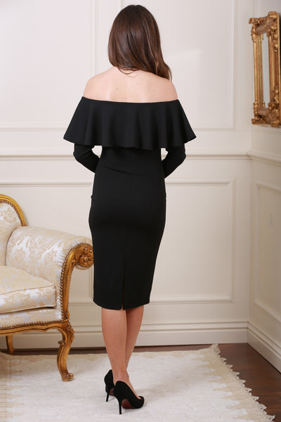 Gemma Off The Shoulder Frill Trim Black Midi Dress - LadyVB   s.r.o - 2