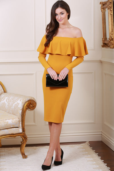 Gemma Off The Shoulder Frill Trim Mustard Midi Dress - LadyVB   s.r.o - 1