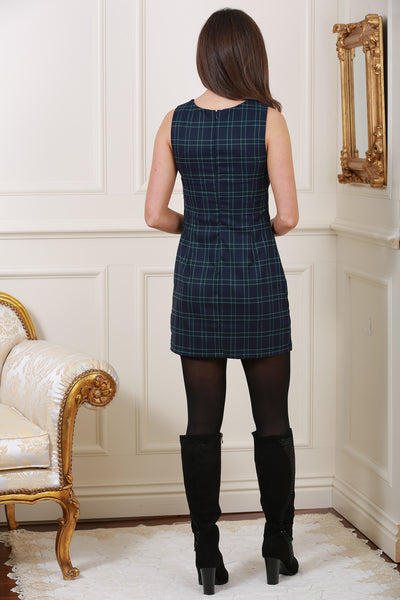 Georgina Navy & Green Pinafore Dress - LadyVB   s.r.o - 3