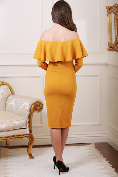 Gemma Off The Shoulder Frill Trim Mustard Midi Dress - LadyVB   s.r.o - 2