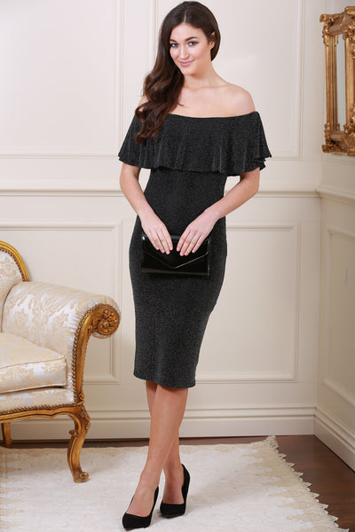 Jackie Metallic Off The Shoulder Frill Trim Black Midi Dress - LadyVB   s.r.o - 1