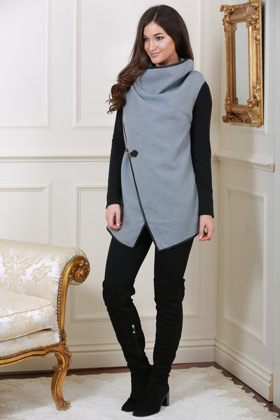 Grey and black drape Coat/Jacket - LadyVB   s.r.o - 1