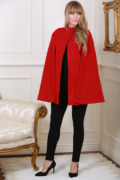 Roma Red Cape Coat - LadyVB   s.r.o - 2