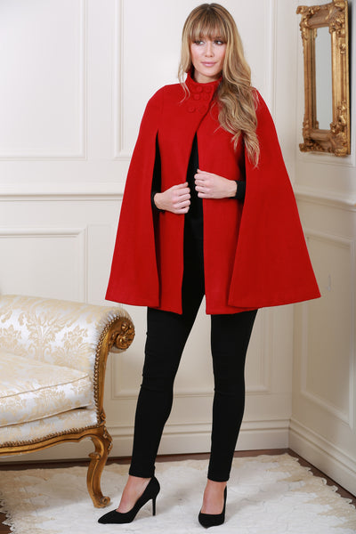 Roma Red Cape Coat - LadyVB   s.r.o - 1