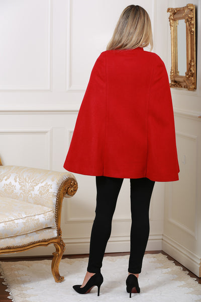 Roma Red Cape Coat - LadyVB   s.r.o - 3