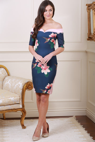 Laurie Off Shoulder Satin Panels Print Dress - LadyVB   s.r.o - 3