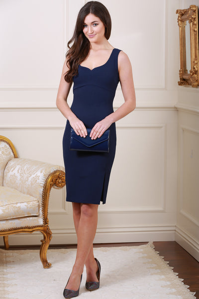 Kris Navy Side Split Dress - LadyVB   s.r.o - 3