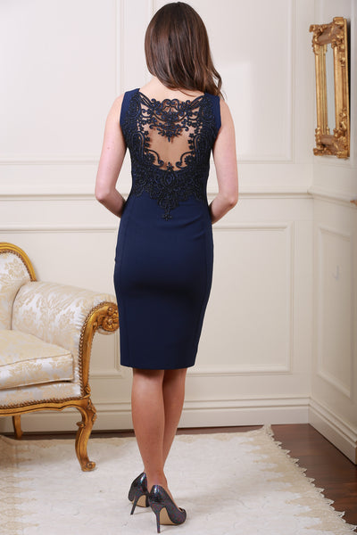 Kris Navy Side Split Dress - LadyVB   s.r.o - 1