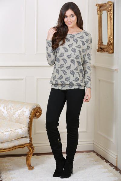 Grey Leaf Print Knit Top - LadyVB   s.r.o - 1